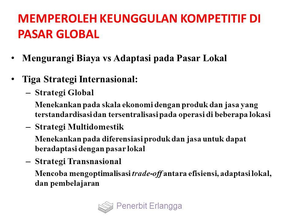 MEMPEROLEH KEUNGGULAN KOMPETITIF DI PASAR GLOBAL Mengurangi Biaya vs Adaptasi pada Pasar Lokal Tiga Strategi Internasional: – Strategi Global Menekank