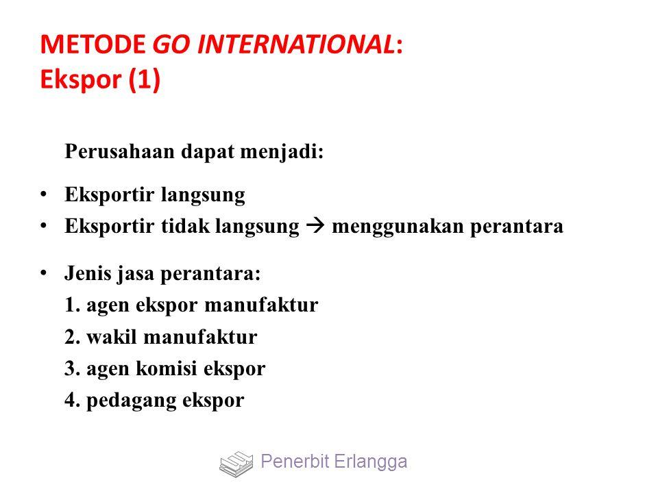 METODE GO INTERNATIONAL: Ekspor (1) Perusahaan dapat menjadi: Eksportir langsung Eksportir tidak langsung  menggunakan perantara Jenis jasa perantara
