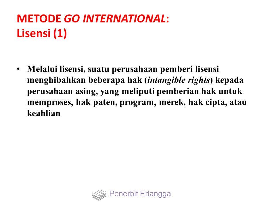 METODE GO INTERNATIONAL: Lisensi (1) Melalui lisensi, suatu perusahaan pemberi lisensi menghibahkan beberapa hak (intangible rights) kepada perusahaan