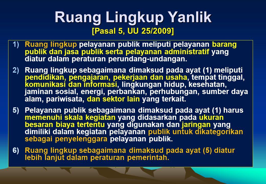 Amanat Pembuatan Peraturan Pemerintah (PP) 1)Ruang Lingkup Yanlik [Pasal 5 ayat (6)]. 2)Sistem Pelayanan Terpadu [Pasal 9 ayat (2)]. 3)Pedoman Penyusu