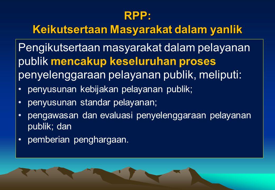 Tata Cara Pengikutsertaan Masyarakat Dalam Penyelenggaraan Yanlik [Pasal 39 ayat (4)] (1) Peran serta masyarakat dalam penyelenggaraan pelayanan publi