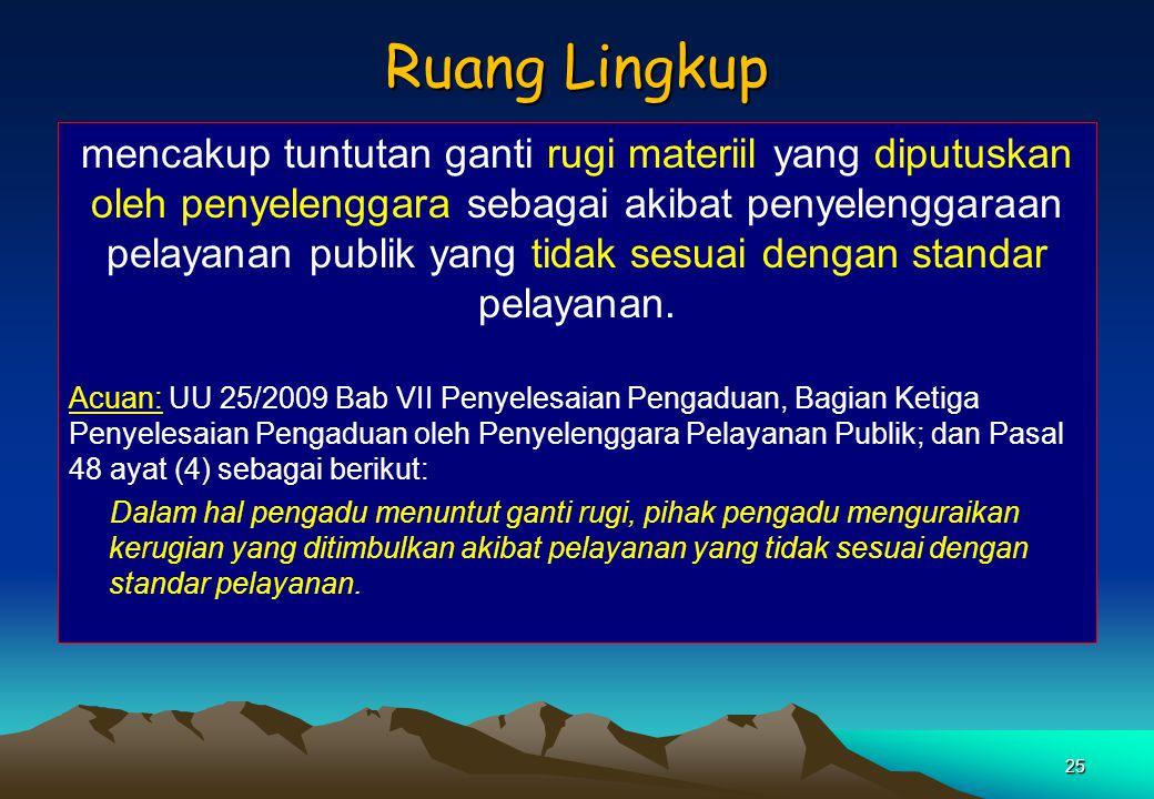 RANCANGAN PERATURAN PRESIDEN TENTANG MEKANISME DAN KETENTUAN PEMBAYARAN GANTI RUGI DALAM PELAYANAN PUBLIK UU No. 25 Tahun 2009 tentang Pelayanan Publi