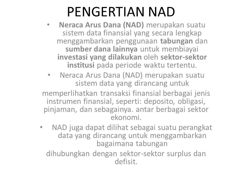 PENGERTIAN NAD Neraca Arus Dana (NAD) merupakan suatu sistem data finansial yang secara lengkap menggambarkan penggunaan tabungan dan sumber dana lainnya untuk membiayai investasi yang dilakukan oleh sektor-sektor institusi pada periode waktu tertentu.