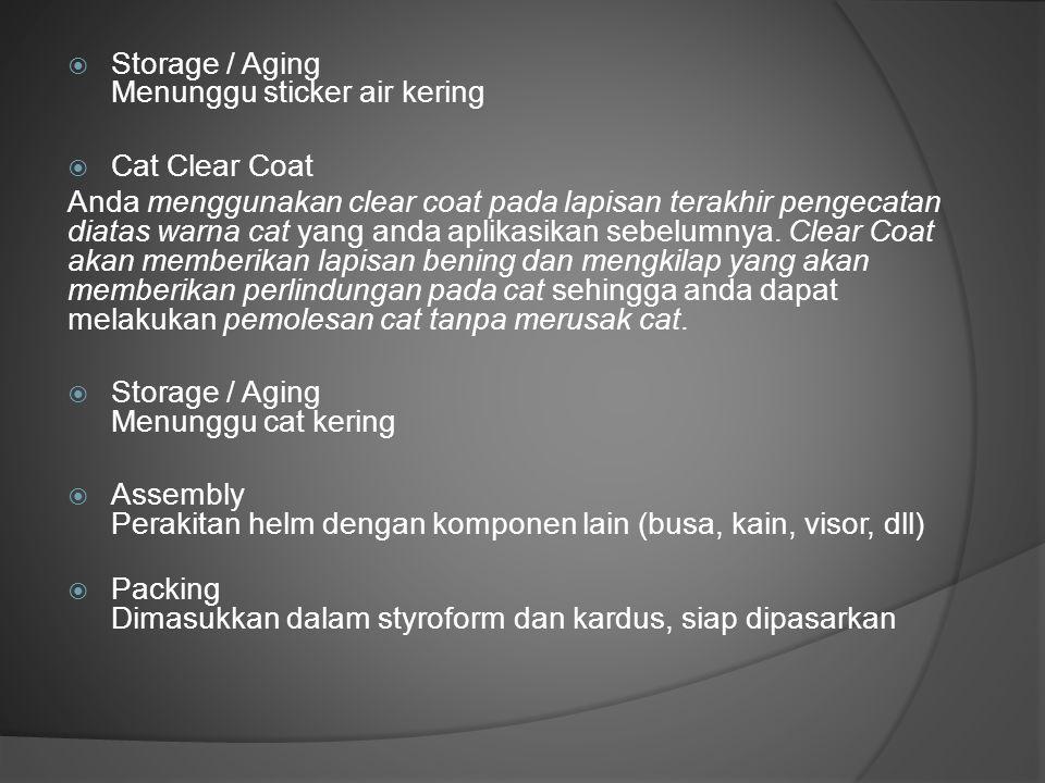  Storage / Aging Menunggu sticker air kering  Cat Clear Coat Anda menggunakan clear coat pada lapisan terakhir pengecatan diatas warna cat yang anda