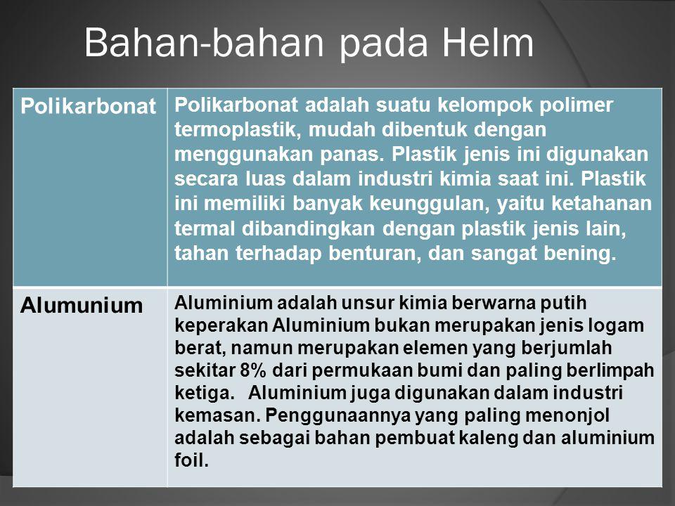 Bahan-bahan pada Helm Polikarbonat Polikarbonat adalah suatu kelompok polimer termoplastik, mudah dibentuk dengan menggunakan panas. Plastik jenis ini
