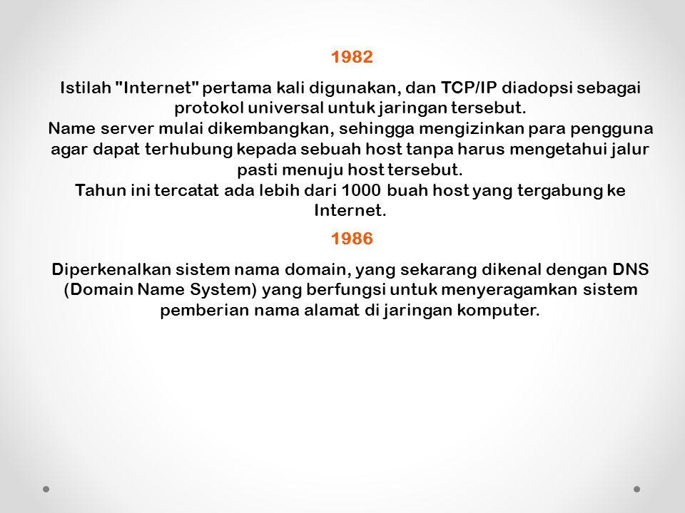 1982 Istilah Internet pertama kali digunakan, dan TCP/IP diadopsi sebagai protokol universal untuk jaringan tersebut.