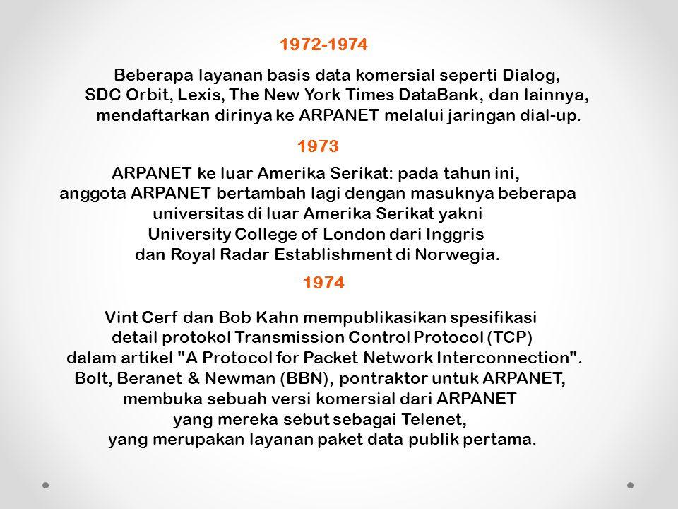 1972-1974 Beberapa layanan basis data komersial seperti Dialog, SDC Orbit, Lexis, The New York Times DataBank, dan lainnya, mendaftarkan dirinya ke ARPANET melalui jaringan dial-up.