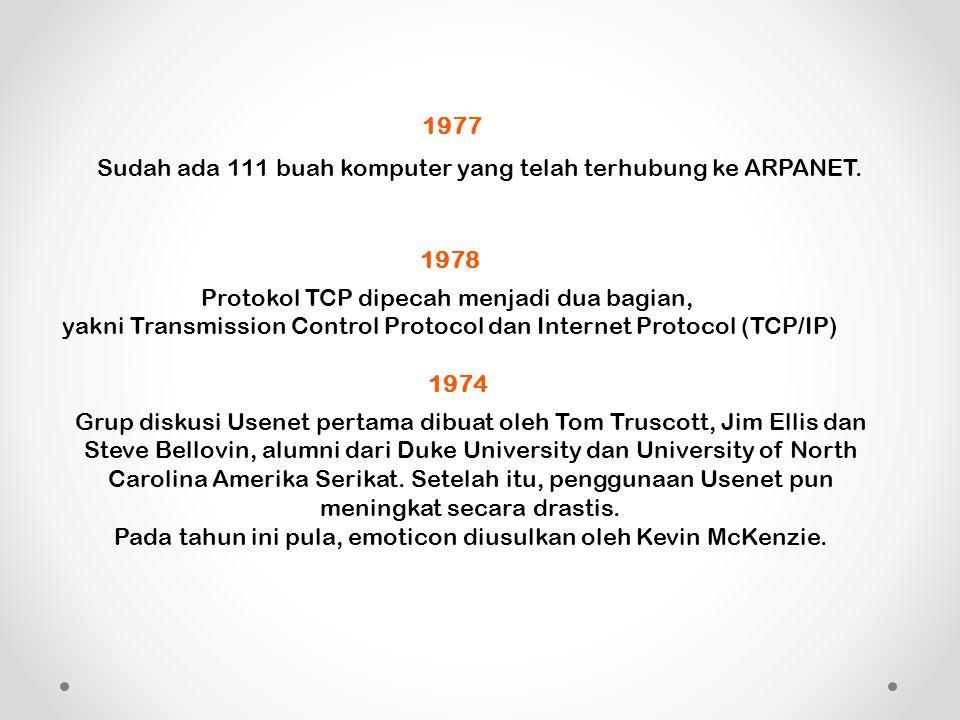 1977 Sudah ada 111 buah komputer yang telah terhubung ke ARPANET.