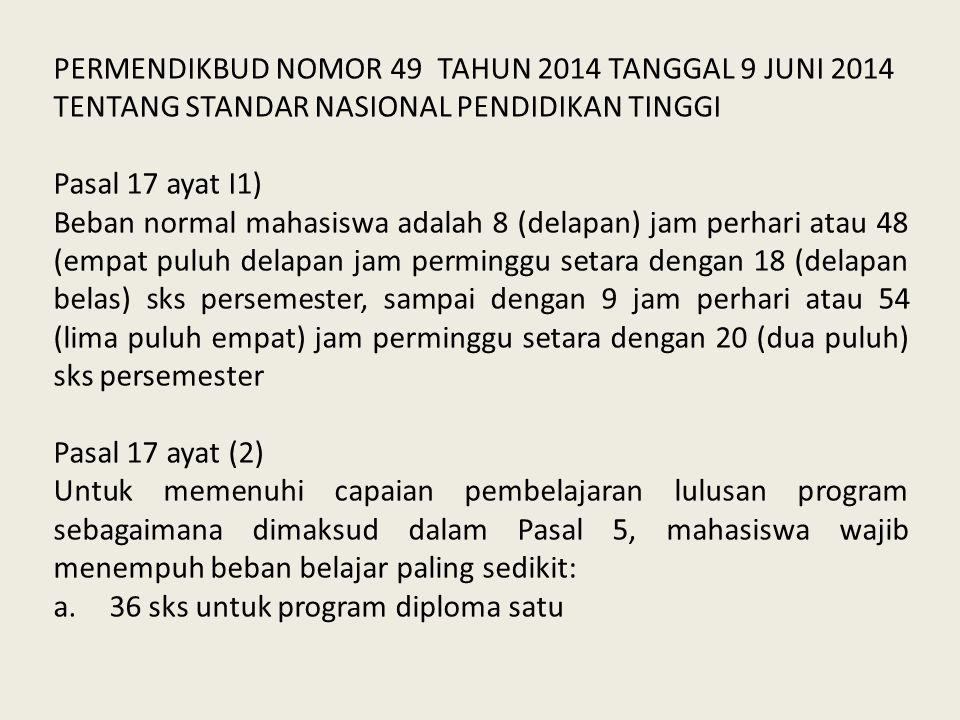 PERMENDIKBUD NOMOR 49 TAHUN 2014 TANGGAL 9 JUNI 2014 TENTANG STANDAR NASIONAL PENDIDIKAN TINGGI Pasal 17 ayat I1) Beban normal mahasiswa adalah 8 (del