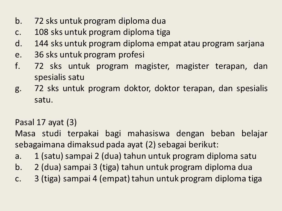 b.72 sks untuk program diploma dua c.108 sks untuk program diploma tiga d.144 sks untuk program diploma empat atau program sarjana e.36 sks untuk prog