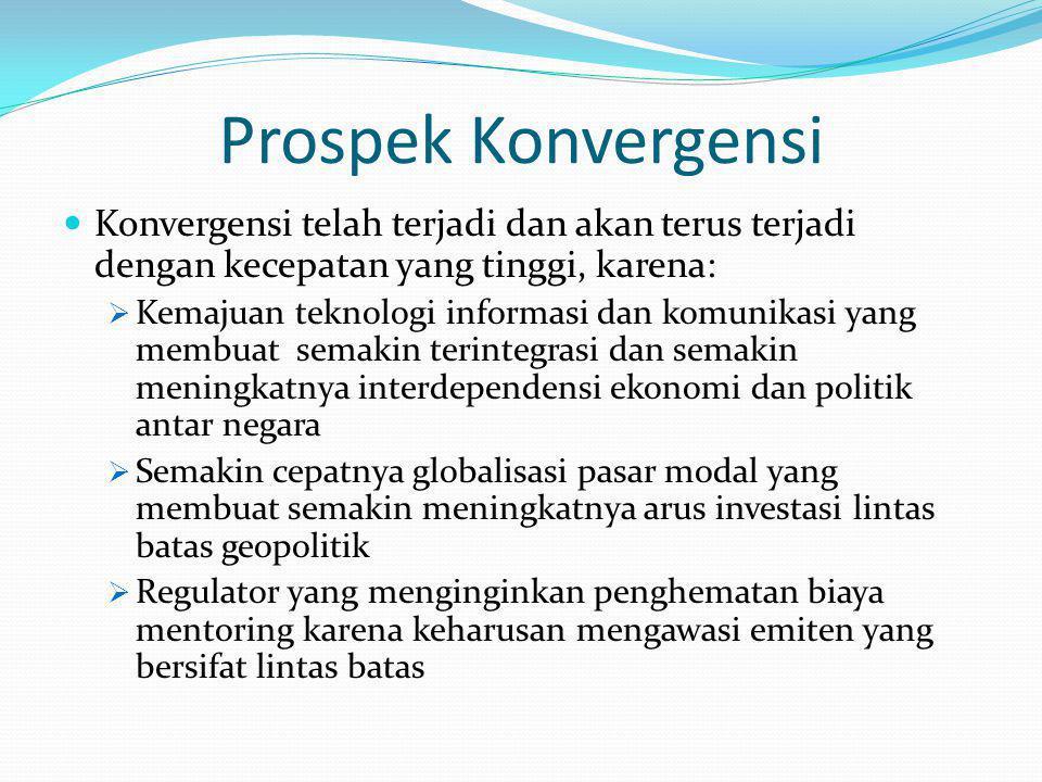 Prospek Konvergensi Konvergensi telah terjadi dan akan terus terjadi dengan kecepatan yang tinggi, karena:  Kemajuan teknologi informasi dan komunika