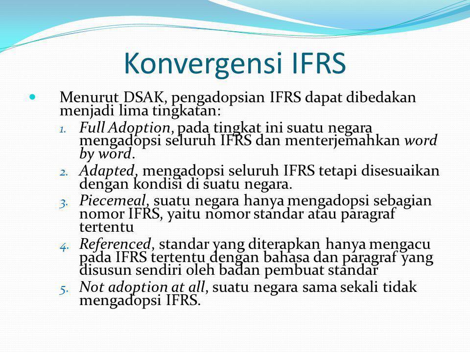 Konvergensi IFRS Menurut DSAK, pengadopsian IFRS dapat dibedakan menjadi lima tingkatan: 1. Full Adoption, pada tingkat ini suatu negara mengadopsi se