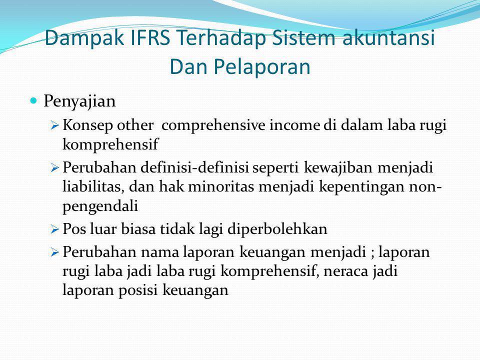 Dampak IFRS Terhadap Sistem akuntansi Dan Pelaporan Penyajian  Konsep other comprehensive income di dalam laba rugi komprehensif  Perubahan definisi