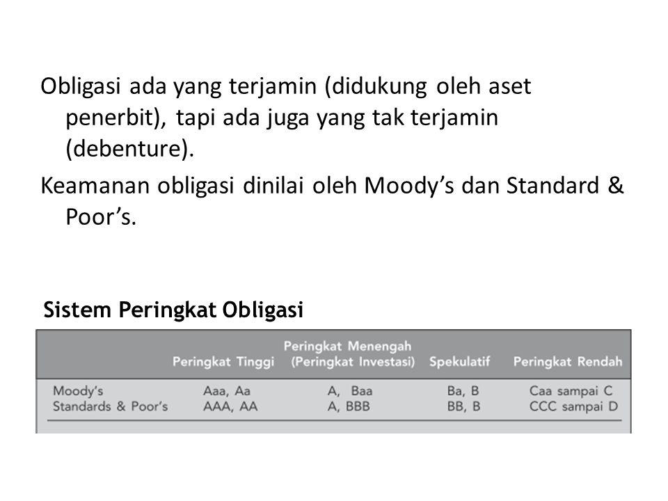Obligasi ada yang terjamin (didukung oleh aset penerbit), tapi ada juga yang tak terjamin (debenture). Keamanan obligasi dinilai oleh Moody's dan Stan