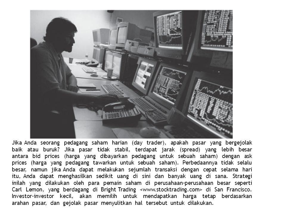 Jika Anda seorang pedagang saham harian (day trader), apakah pasar yang bergejolak baik atau buruk? Jika pasar tidak stabil, terdapat jarak (spread) y