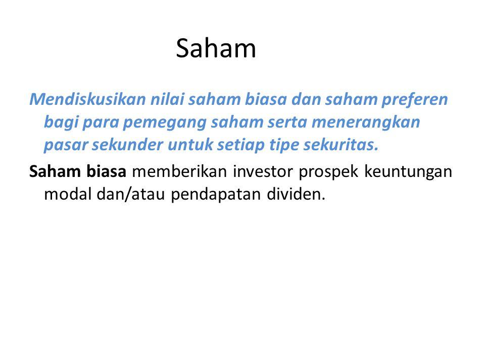 Nilai saham biasa diekspresikan dalam tiga cara: 1.nilai pokok (nilai nominal suatu saham ketika diterbitkan), 2.nilai pasar (harga pasar saat ini dari suatu saham), dan 3.nilai buku (nilai ekuitas pemilik dibagi jumlah saham).