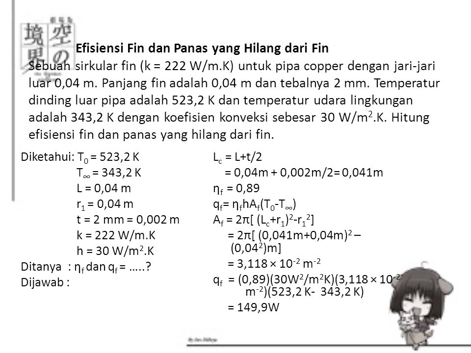 Efisiensi Fin dan Panas yang Hilang dari Fin Sebuah sirkular fin (k = 222 W/m.K) untuk pipa copper dengan jari-jari luar 0,04 m. Panjang fin adalah 0,