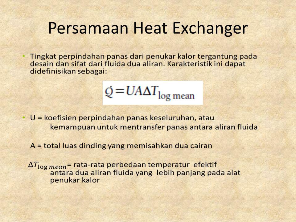 Thermal Performance Thermal performance penukar panas diperkirakan dengan menghitung transfer panas secara keseluruhan koefisien U dan daerah A.