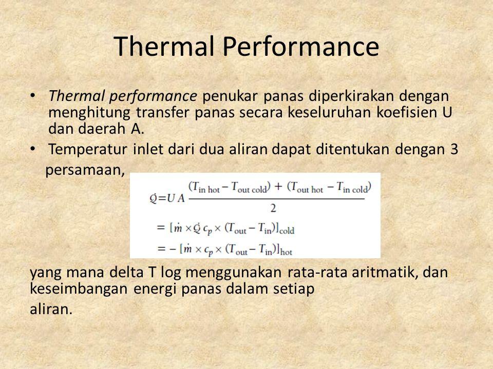 Thermal Performance Thermal performance penukar panas diperkirakan dengan menghitung transfer panas secara keseluruhan koefisien U dan daerah A. Tempe