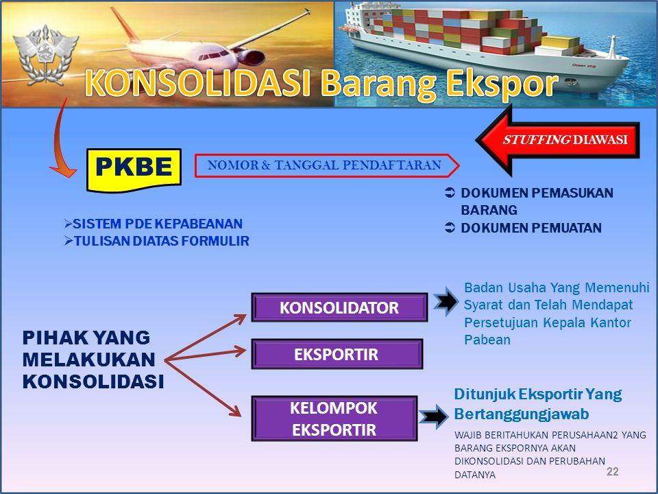 21 Konsolidasi : Pengumpulan Barang Ekspor (minimal 2 PEB) dalam satu peti kemas Penggabungan : Ekspor gabungan Barang eks. fasilitas Pembebasan/Penge