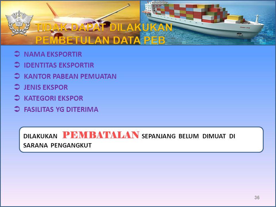 TANGGAL PERKIRAAN EKSPOR (PEMBATALAN) ( PSL 8 PMK-146/PMK.04/2014) PEB Selesai Muat Selesai Masuk Selesai Muat 25/325/4 1/4 7 hari 30 hari PEB PEB UMU