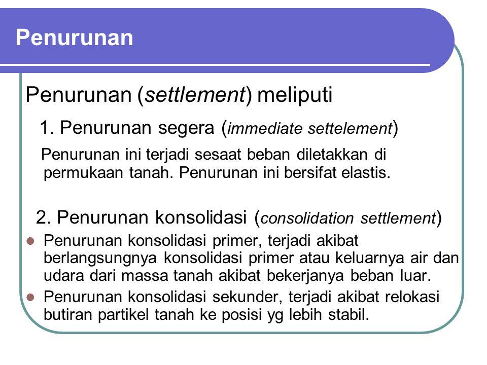 Penurunan Penurunan (settlement) meliputi 1. Penurunan segera ( immediate settelement ) Penurunan ini terjadi sesaat beban diletakkan di permukaan tan