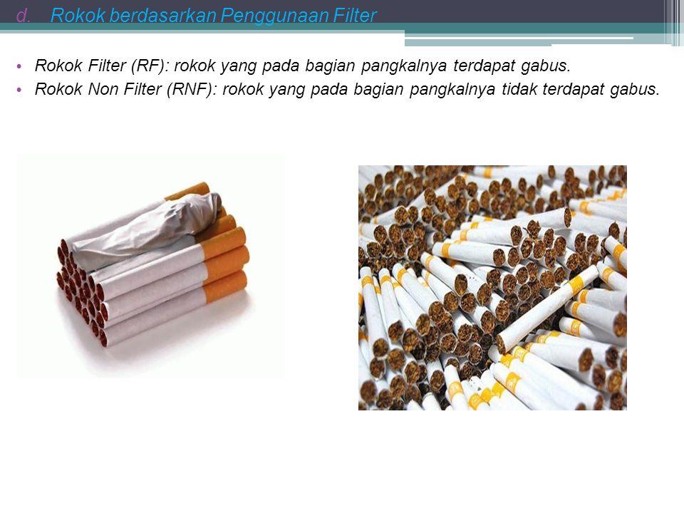 d.Rokok berdasarkan Penggunaan Filter R okok Filter (RF): rokok yang pada bagian pangkalnya terdapat gabus. R okok Non Filter (RNF): rokok yang pada b