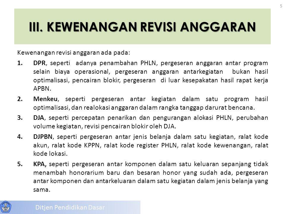 III. KEWENANGAN REVISI ANGGARAN Kewenangan revisi anggaran ada pada: 1.DPR, seperti adanya penambahan PHLN, pergeseran anggaran antar program selain b