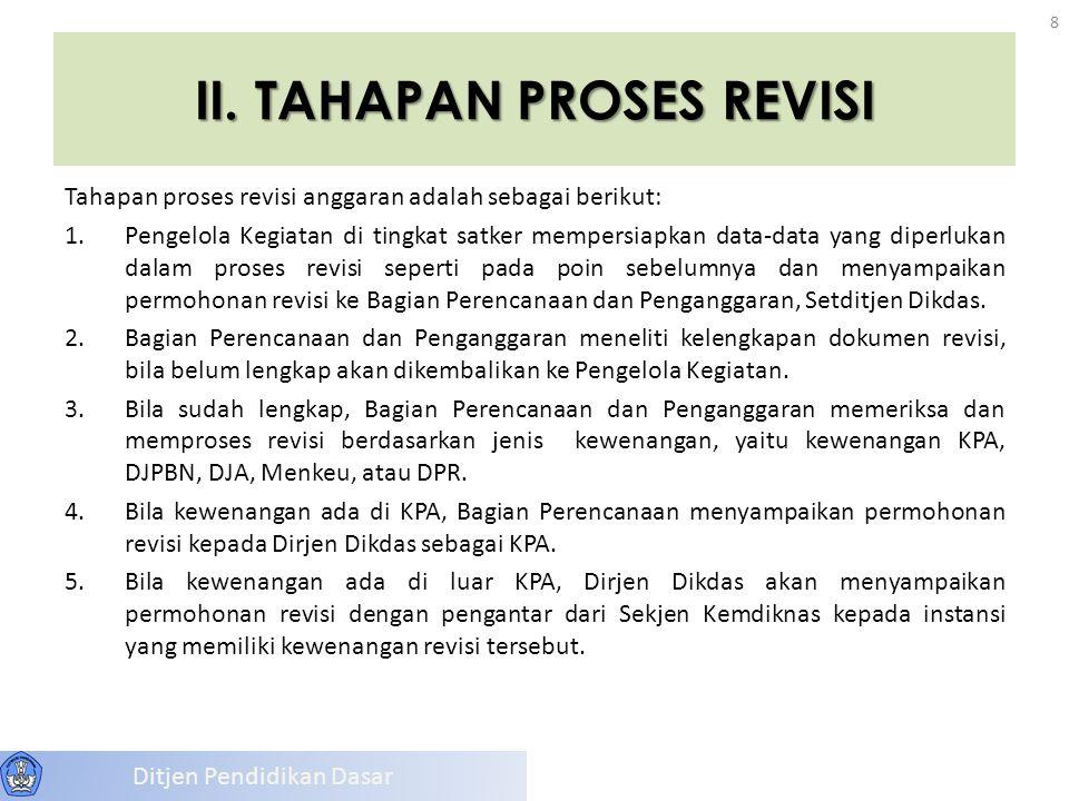 II. TAHAPAN PROSES REVISI Tahapan proses revisi anggaran adalah sebagai berikut: 1.Pengelola Kegiatan di tingkat satker mempersiapkan data-data yang d