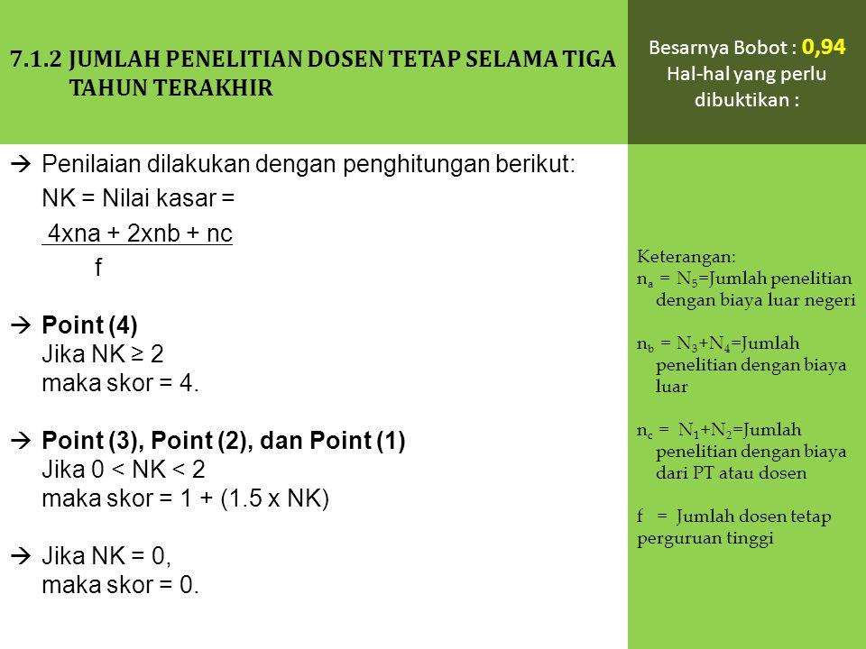  Penilaian dilakukan dengan penghitungan berikut: NK = Nilai kasar = 4xna + 2xnb + nc f  Point (4) Jika NK ≥ 2 maka skor = 4.