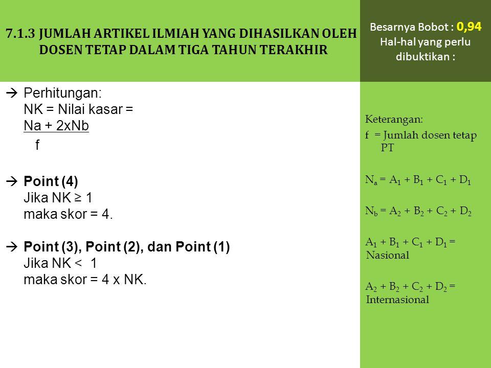  Perhitungan: NK = Nilai kasar = Na + 2xNb f  Point (4) Jika NK ≥ 1 maka skor = 4.