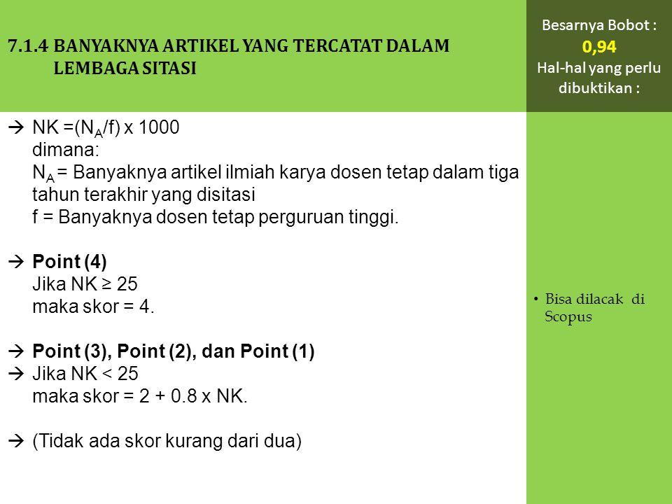  NK =(N A /f) x 1000 dimana: N A = Banyaknya artikel ilmiah karya dosen tetap dalam tiga tahun terakhir yang disitasi f = Banyaknya dosen tetap perguruan tinggi.