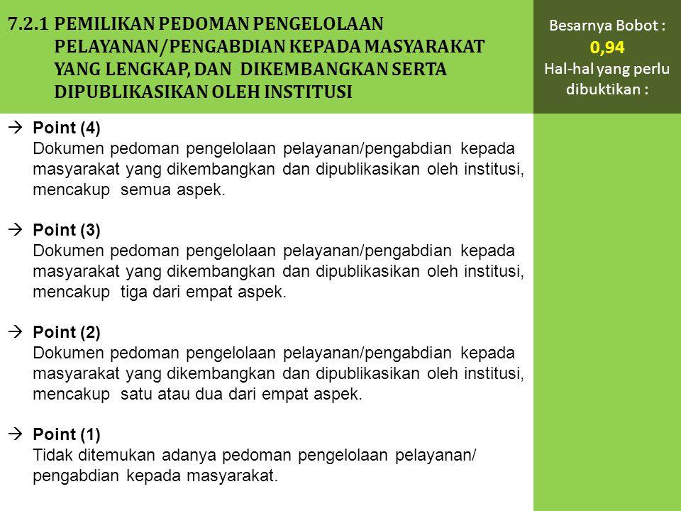  Point (4) Dokumen pedoman pengelolaan pelayanan/pengabdian kepada masyarakat yang dikembangkan dan dipublikasikan oleh institusi, mencakup semua aspek.