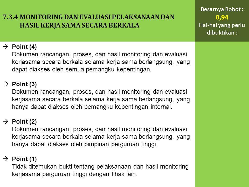  Point (4) Dokumen rancangan, proses, dan hasil monitoring dan evaluasi kerjasama secara berkala selama kerja sama berlangsung, yang dapat diakses oleh semua pemangku kepentingan.
