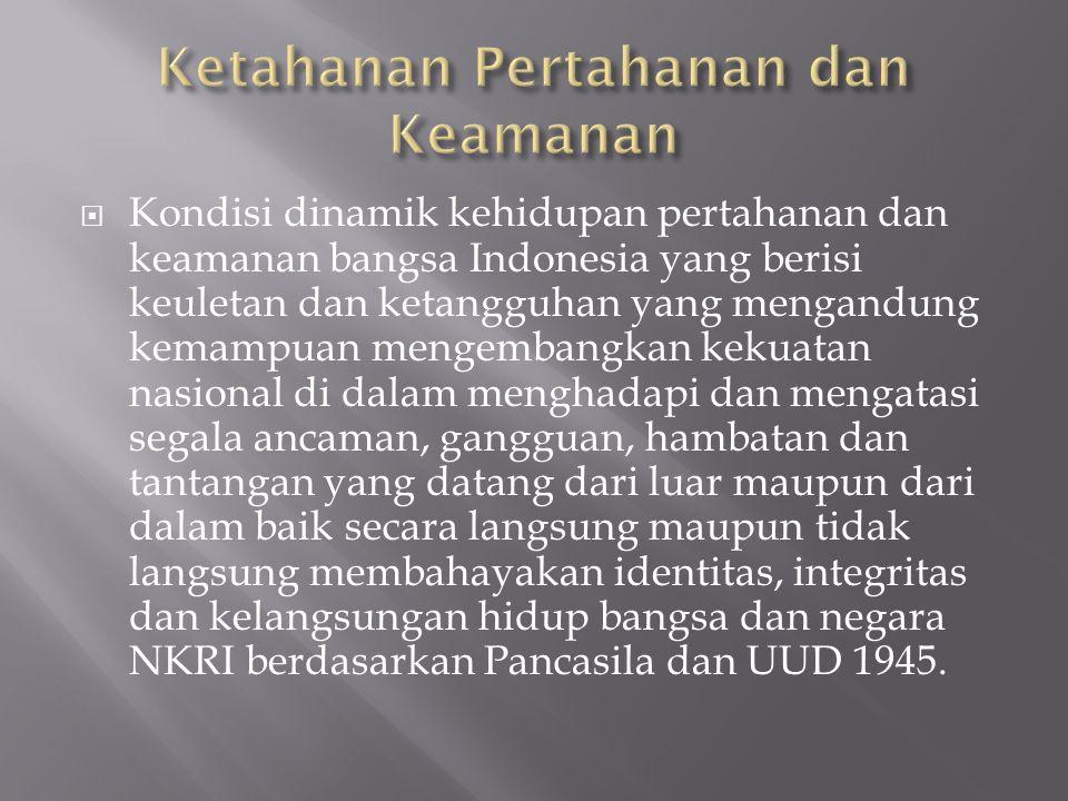  Kondisi dinamik kehidupan pertahanan dan keamanan bangsa Indonesia yang berisi keuletan dan ketangguhan yang mengandung kemampuan mengembangkan keku