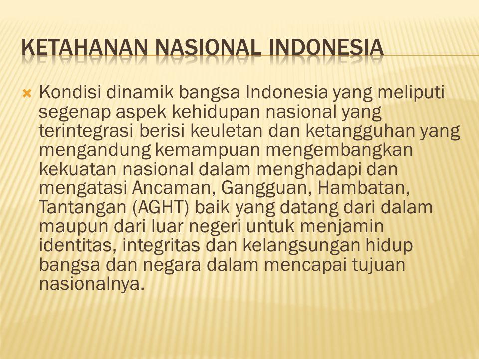  Konsepsi pengembangan kekuatan nasional melalui pengaturan dan penyelenggaraan kesejahteraan dan keamanan yang seimbang, serasi dan selaras dalam seluruh aspek kehidupan secara utuh dan menyeluruh dan terpadu berdasarkan Pancasila, UUD 1945 dan Wawasan Nusantara.