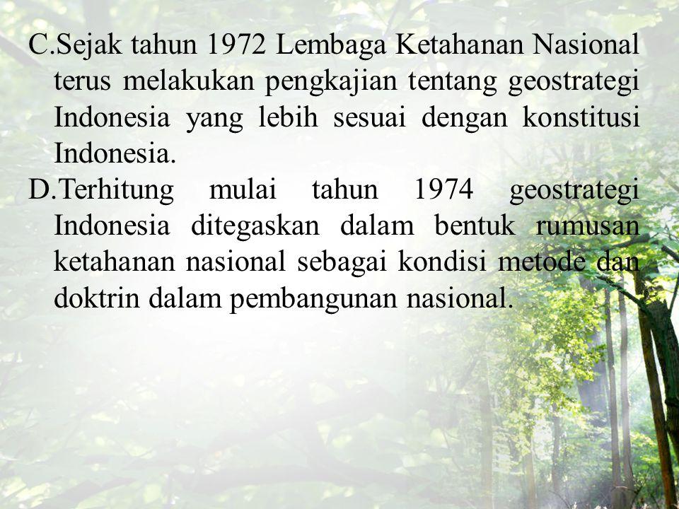 Sifat- Sifat Geostrategi Indonesia 1.Bersifat daya tangkal.