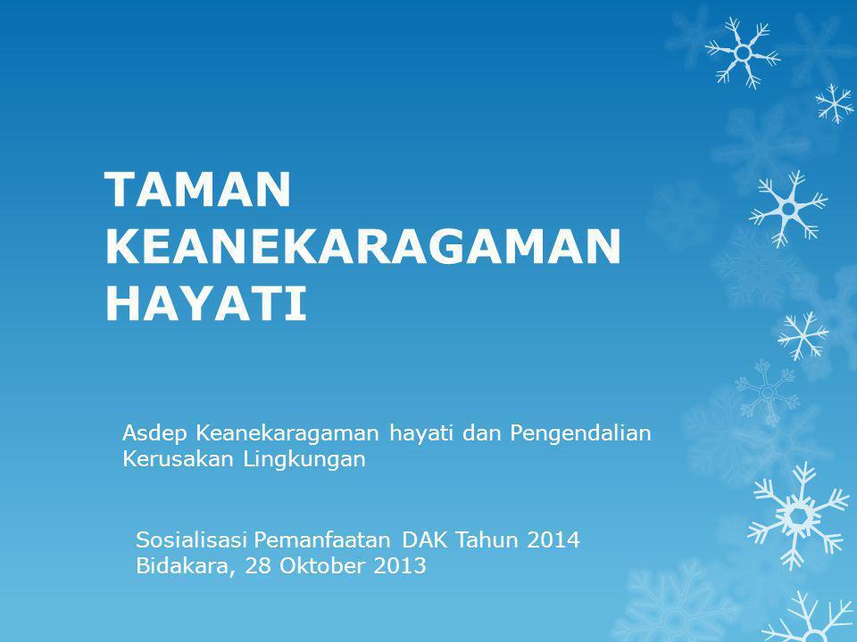 TAMAN KEANEKARAGAMAN HAYATI Asdep Keanekaragaman hayati dan Pengendalian Kerusakan Lingkungan Sosialisasi Pemanfaatan DAK Tahun 2014 Bidakara, 28 Oktober 2013