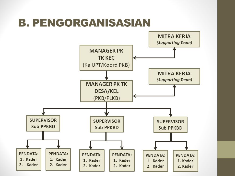 B. PENGORGANISASIAN MANAGER PK TK DESA/KEL (PKB/PLKB) MANAGER PK TK KEC (Ka UPT/Koord PKB) MITRA KERJA (Supporting Team) SUPERVISOR Sub PPKBD PENDATA:
