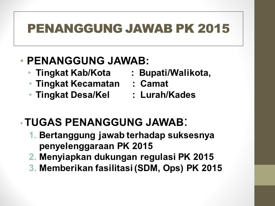 PENANGGUNG JAWAB PK 2015 PENANGGUNG JAWAB: Tingkat Kab/Kota : Bupati/Walikota, Tingkat Kecamatan : Camat Tingkat Desa/Kel : Lurah/Kades TUGAS PENANGGU