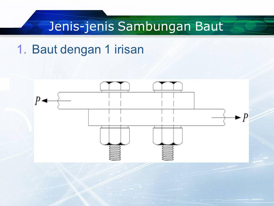Jenis-jenis Sambungan Baut 1.Baut dengan 1 irisan