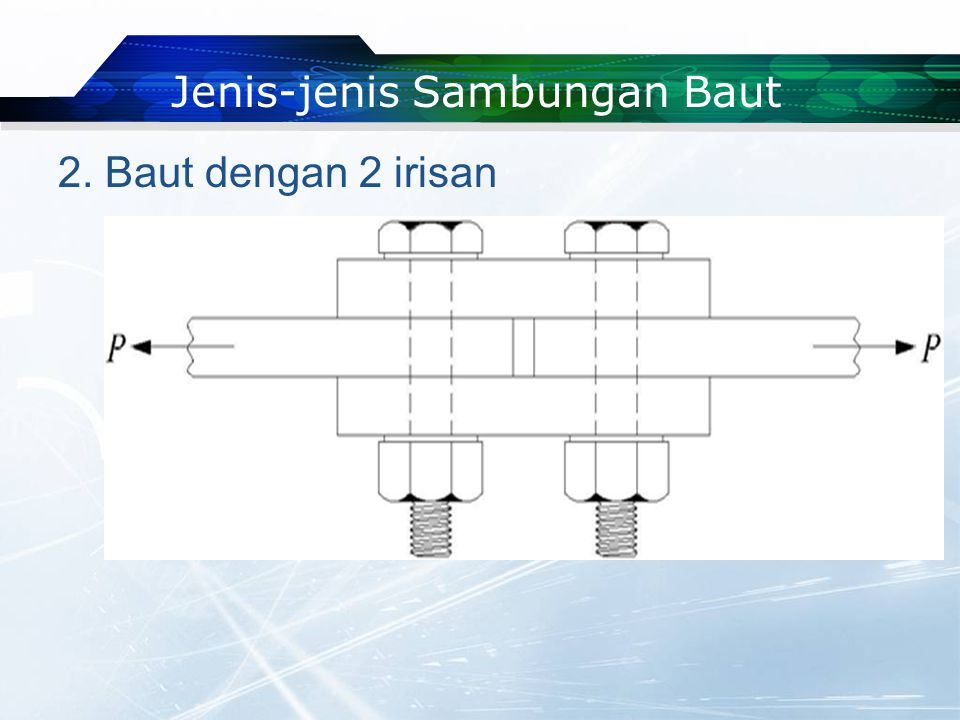 2. Baut dengan 2 irisan Jenis-jenis Sambungan Baut