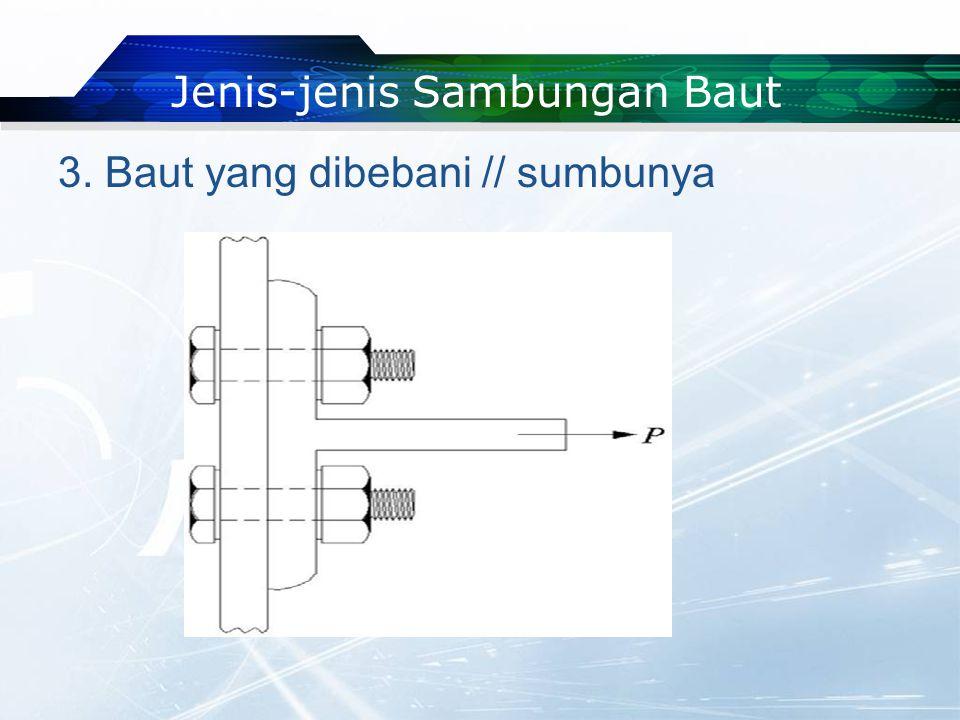 3. Baut yang dibebani // sumbunya Jenis-jenis Sambungan Baut