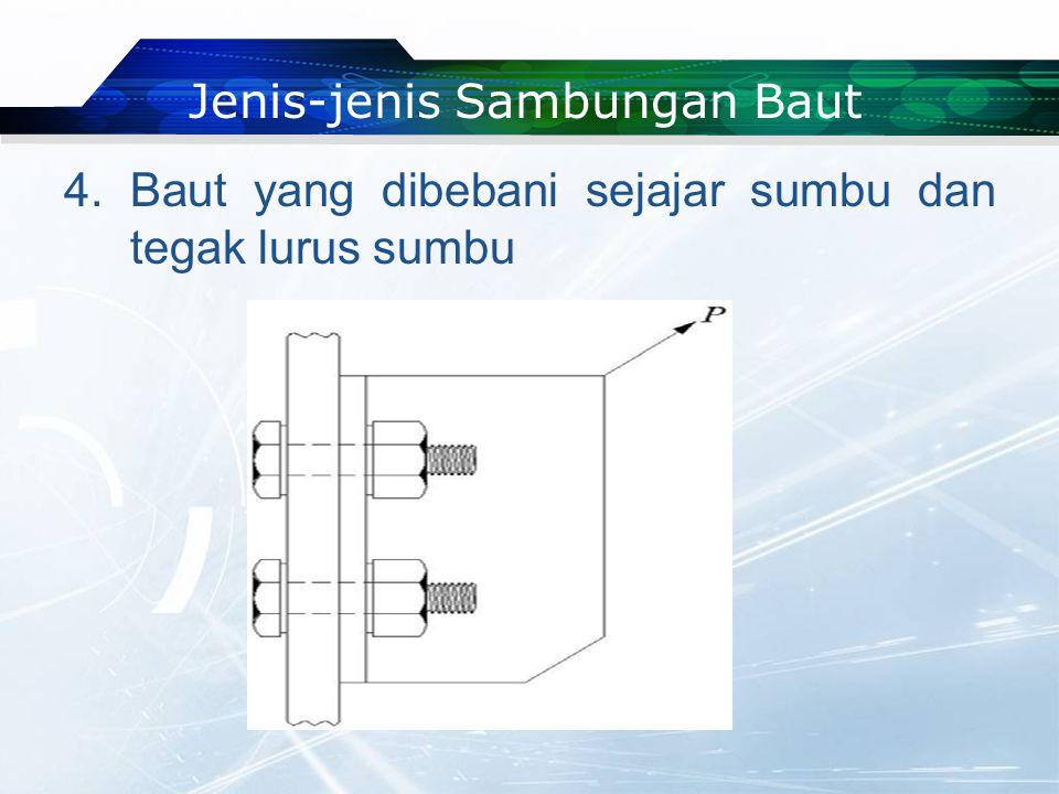 4. Baut yang dibebani sejajar sumbu dan tegak lurus sumbu Jenis-jenis Sambungan Baut