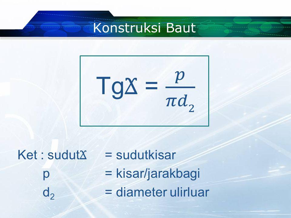 Keterangan : D = diameter ulir dalam d = diameter ulir luar Pada umumnya ulir sekrup ISO sudut puncaknya 60°.