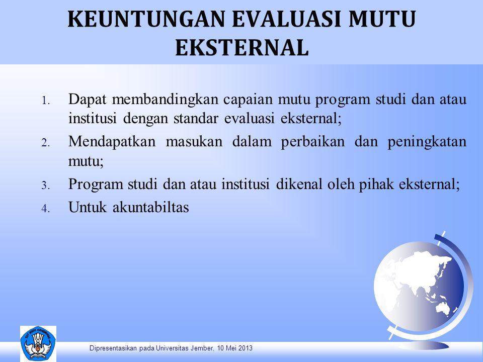 KEUNTUNGAN EVALUASI MUTU EKSTERNAL 1. Dapat membandingkan capaian mutu program studi dan atau institusi dengan standar evaluasi eksternal; 2. Mendapat