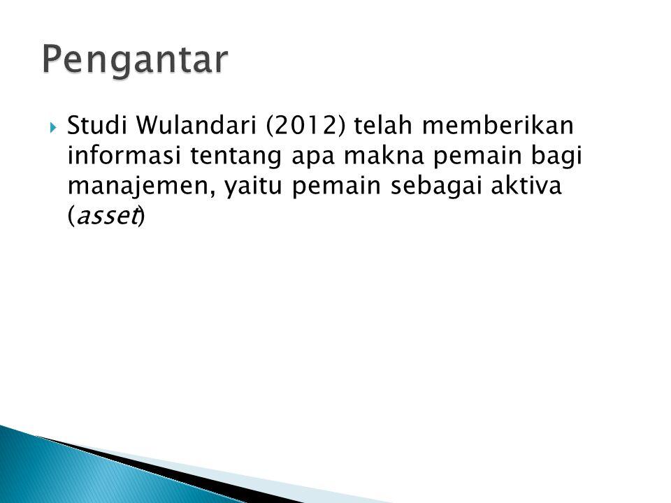  Studi Wulandari (2012) telah memberikan informasi tentang apa makna pemain bagi manajemen, yaitu pemain sebagai aktiva (asset)