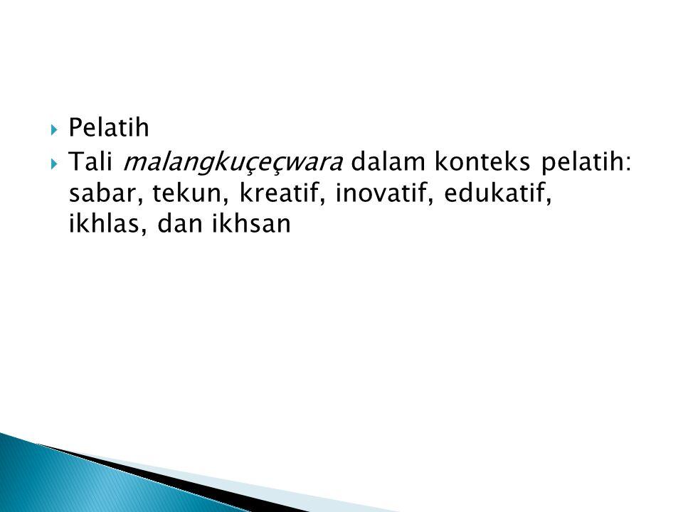  Pelatih  Tali malangkuçeçwara dalam konteks pelatih: sabar, tekun, kreatif, inovatif, edukatif, ikhlas, dan ikhsan