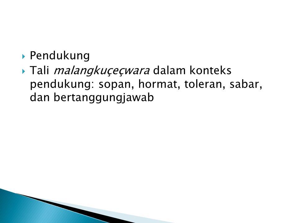  Pendukung  Tali malangkuçeçwara dalam konteks pendukung: sopan, hormat, toleran, sabar, dan bertanggungjawab