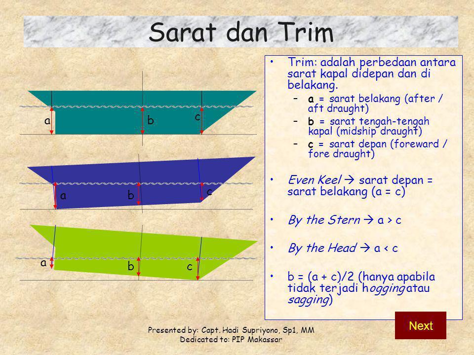 Presented by: Capt. Hadi Supriyono, Sp1, MM Dedicated to: PIP Makassar Sarat dan Trim Trim: adalah perbedaan antara sarat kapal didepan dan di belakan